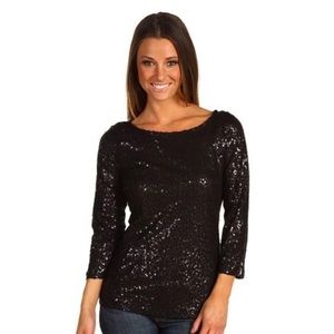 Calvin Klein Cotton 3/4 Sleeve Sequin Blouse